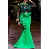 Lovely Party Patchwork Flounce Green Floor Length