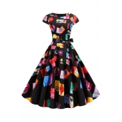 Lovely Sweet Printed Multicolor Mid Calf Dress