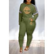 Lovely Casual Printed Army Green Two-piece Pants S