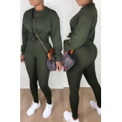 Lovely Casual Basic Army Green Two-piece Pants Set