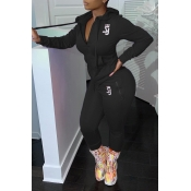 Lovely Casual Hooded Collar Zipper Design Black Tw