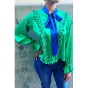 Lovely O Neck Flounce Design Green Blouse