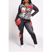 Lovely Casual Lip Printed Black Plus Size Two-piec