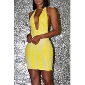 Lovely Party Deep V Neck Striped Yellow Mini Prom