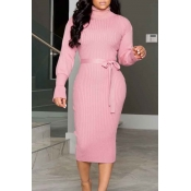 Lovely Sweet Turtleneck Skinny Pink Mid Calf Dress