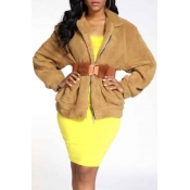 Lovely Casual Zipper Design Yellow Teddy Coat(With