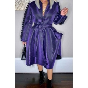 Lovely Chic Lace-up Loose Purple Coat