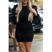 Lovely Sweet Ruffle Design Black Mini Dress