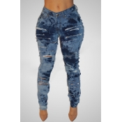 Lovely Chic Broken Holes Blue Jeans