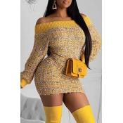 Lovely Sweet Dew Shoulder Yellow Mini Dress