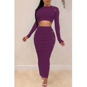 Lovely Casual Crop Top Purple Two-piece Skirt Set