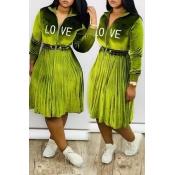 Lovely Sweet Ruffle Design Green Mid Calf Dress