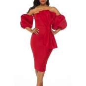 Lovely Sweet Bow-Tie Red Knee Length Evening Dress
