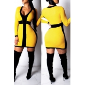 Lovely Trendy Patchwork Yellow Mini Dress