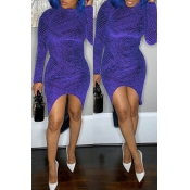 Lovely Trendy Asymmetrical Purple Mid Calf Dress