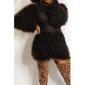 Lovely Casual Tassel Design Black Two-piece Skirt