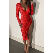Lovely Trendy Side High Slit Red  Knee Length Even