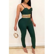 Lovely Party Spaghetti Straps Green Two-piece Pant