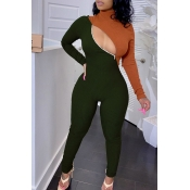 Lovely Trendy Patchwork Hollow-out Army Green One-piece Jumpsuit