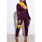 Lovely Trendy Patchwork Hollow-out Wine Red One-pi