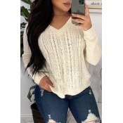 Lovely Casual Hooded Collar White Sweater