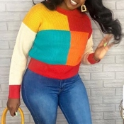 Lovely Casual Patchwork Multicolor Sweater