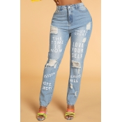 Lovely Casual Letter Baby Blue Jeans