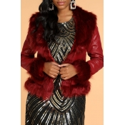 Lovely Casual Patchwork Red PU Coat