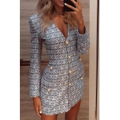 Lovely Work Buttons Design Silver Mini Dress