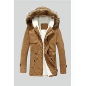 Lovely Winter Hooded Collar Velvet Lining Khaki Co