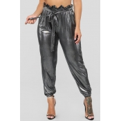 Lovely Casual Drawstring Silver Pants