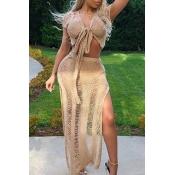 Lovely Knot Design Hollow-out Light Tan Beach Skirt Set