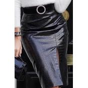 Lovely Casual Straight Slit Black Knee Length Skir