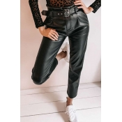 Lovely Casual Skinny Black PU Pants(Without Belt)