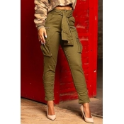 Lovely Casual Pocket Patched Army Green Pants