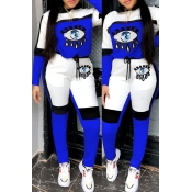 Lovely Casual Eye Patchwork Blue Two-piece Pants S