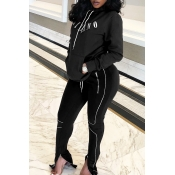 Lovely Casual Letter Zipper Design Black Two-piece