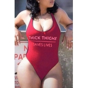 Lovely Leisure Letter Wine Red One-piece Swimsuit