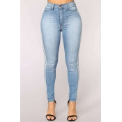 Lovely Casual Patchwork Sky Blue Jeans