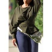 Lovely Casual O Neck Lace-up Army Green Sweatshirt
