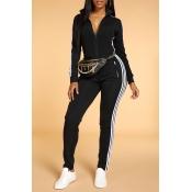 Lovely Trendy Striped Skinny Black One-piece Jumpsuit