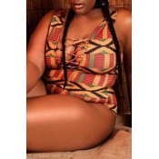 Lovely Print Brown One-piece Swimwear