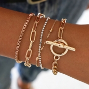 Lovely Trendy Layered Gold Bracelet