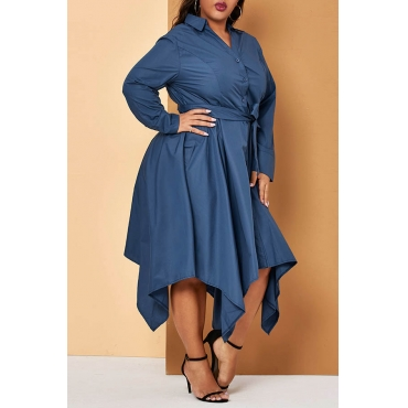 Lovely Casual Turndown Collar Blue Ankle Length Plus Size Dress