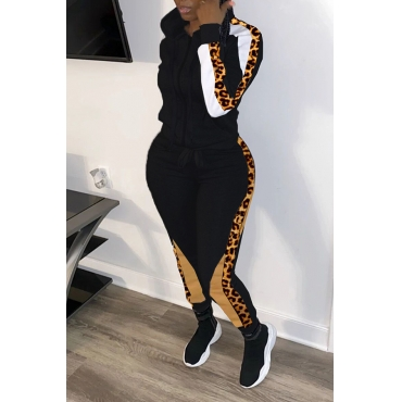 Lovely Casual Patchwork Leopard Printed Black Two-piece Pants Set