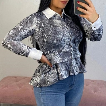 Lovely Casual Printed Grey Blouse