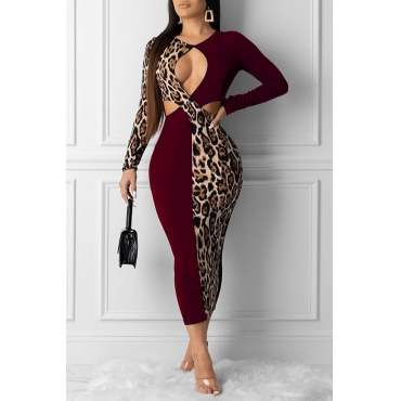 Lovely Sexy Hollow-out Wine Red Ankle Length Dress