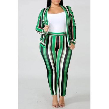 Lovely Casual Striped Plus Size Two-piece Pants Set