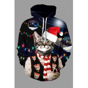 Lovely Christmas Day Cat Printed Black Plus Size Hoodie