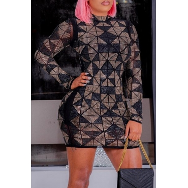 Lovely Casual Color-lump Patchwork Black Mini Dress